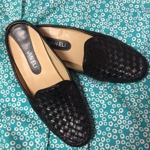 Van Eli black leather flats 9 1/2